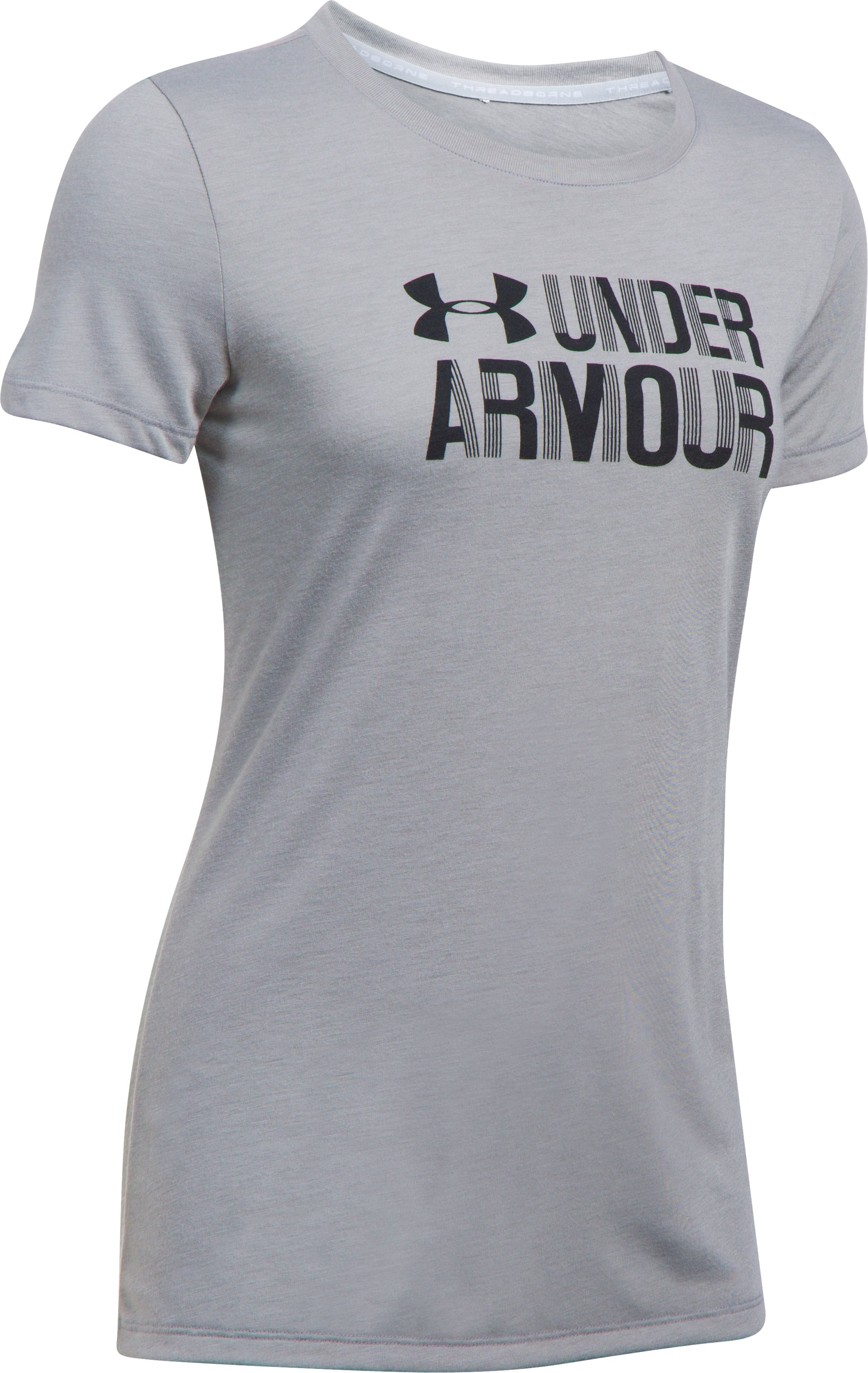 Women's UA Threadborne™ Graphic Short Sleeve, True Gray Heather, undefined