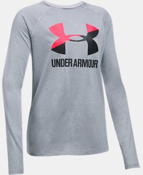 Girls' UA Big Logo Slash Long Sleeve  1  Color Available $14.99 to $18.99
