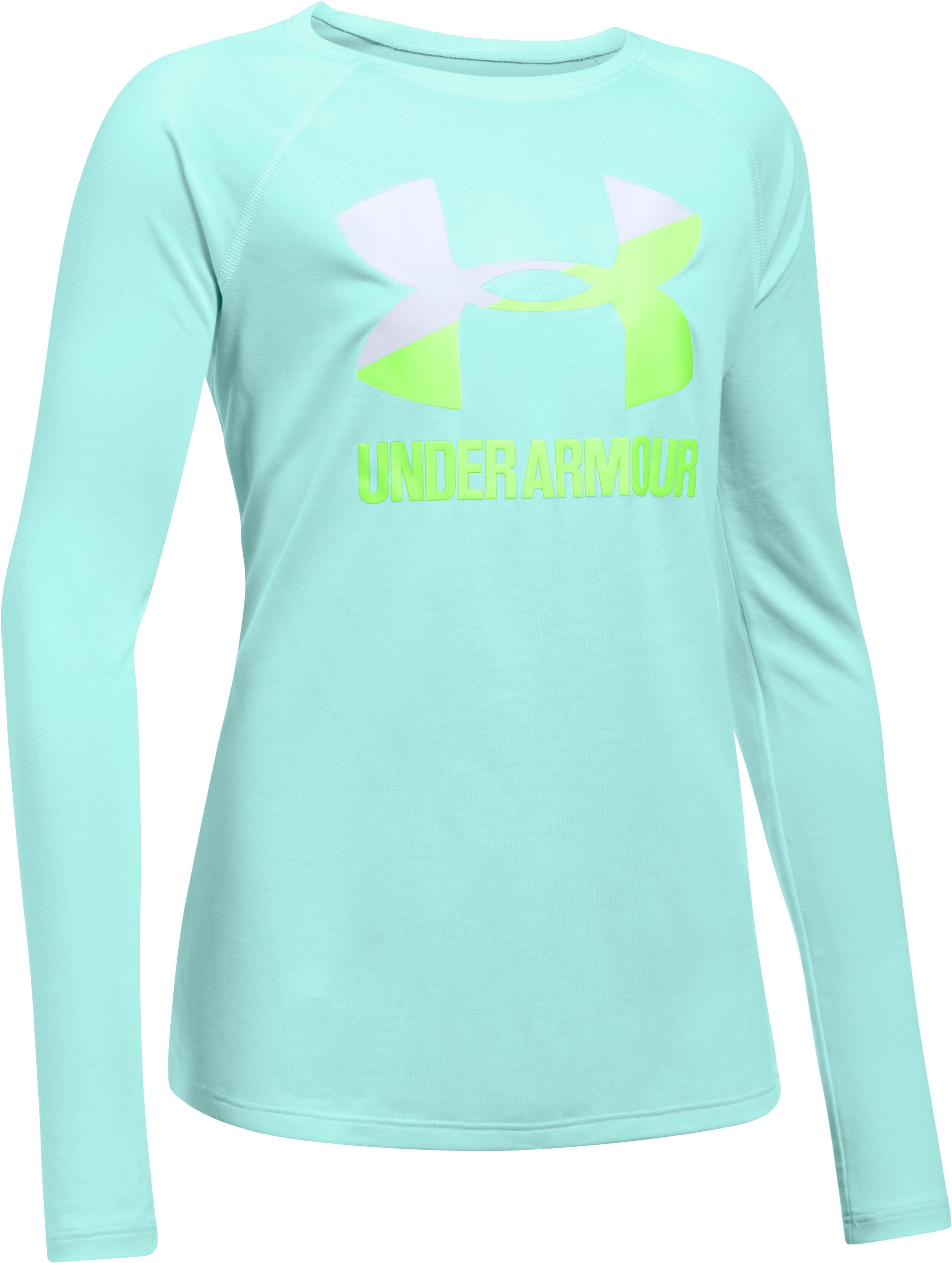Girls' UA Big Logo Slash Long Sleeve, BLUE INFINITY