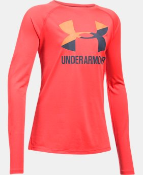 Girls' UA Big Logo Slash Long Sleeve LIMITED TIME OFFER 1 Color $17.49
