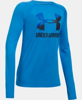 Girls' UA Big Logo Slash Long Sleeve LIMITED TIME OFFER 2 Colors $17.49