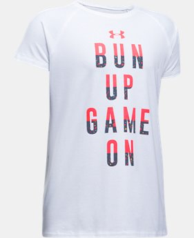 New to Outlet Girls' UA Bun Up Game On T-Shirt  1 Color $13.99