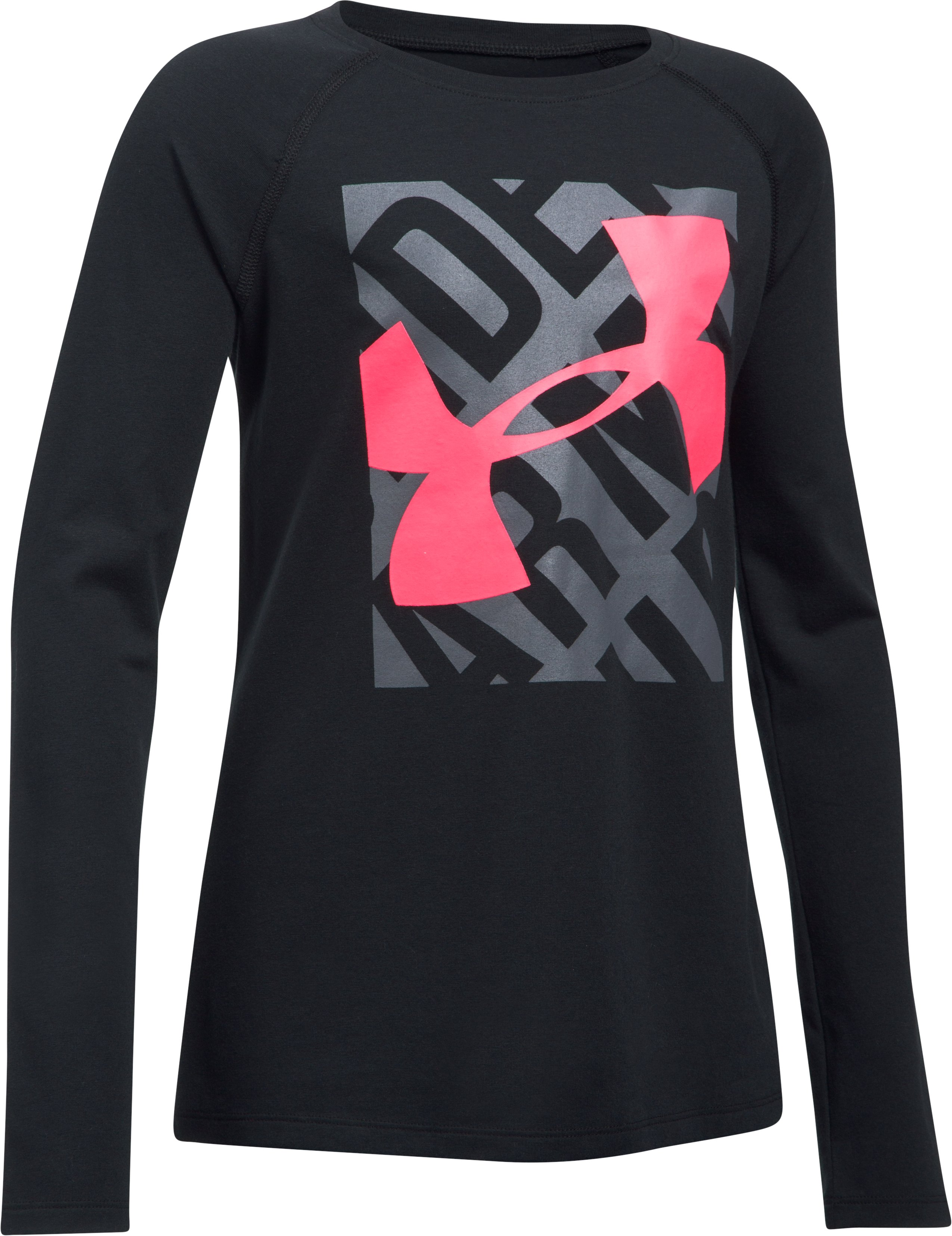Girls' UA Blocked Logo Long Sleeve, Black
