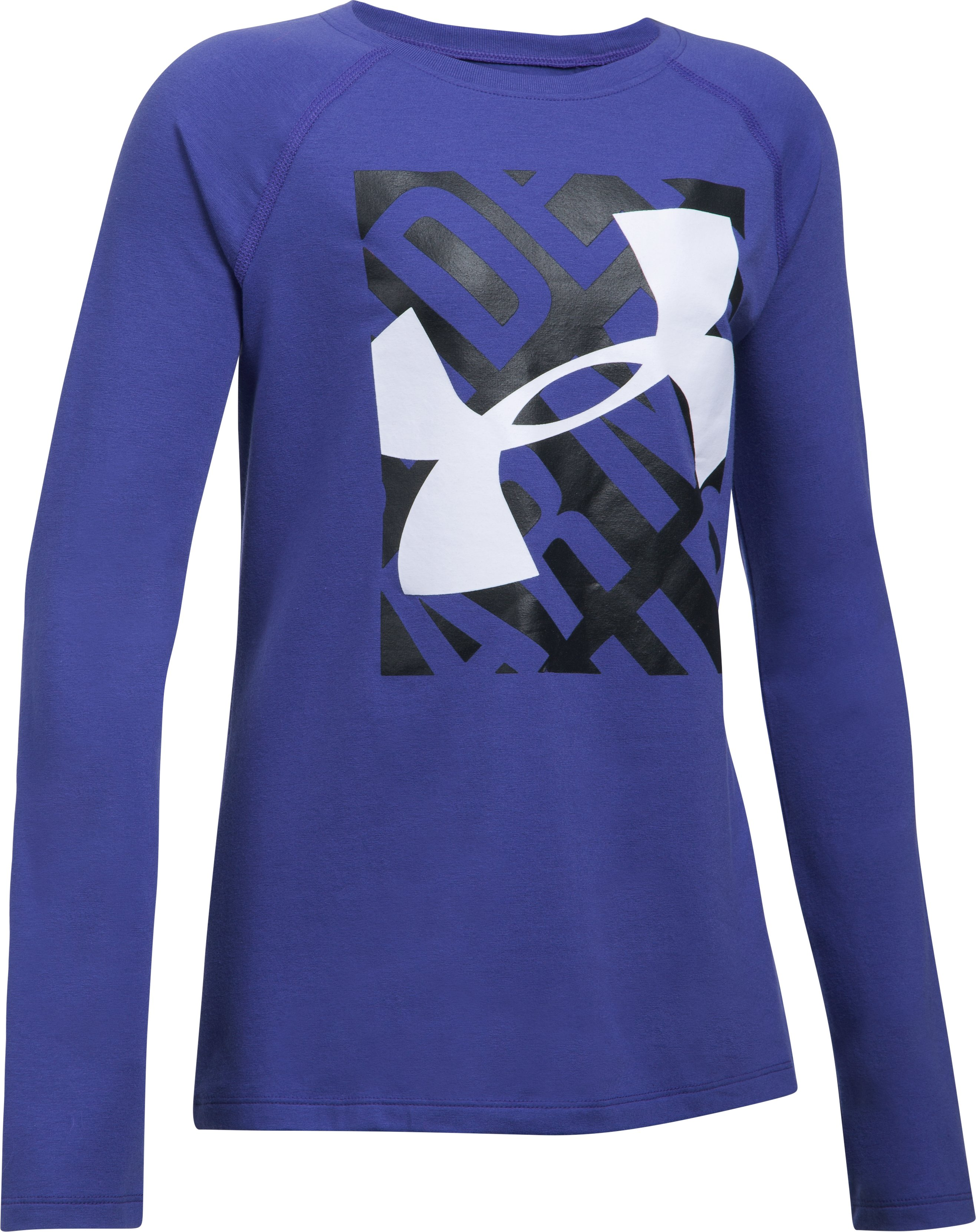 Girls' UA Blocked Logo Long Sleeve, Pluto,