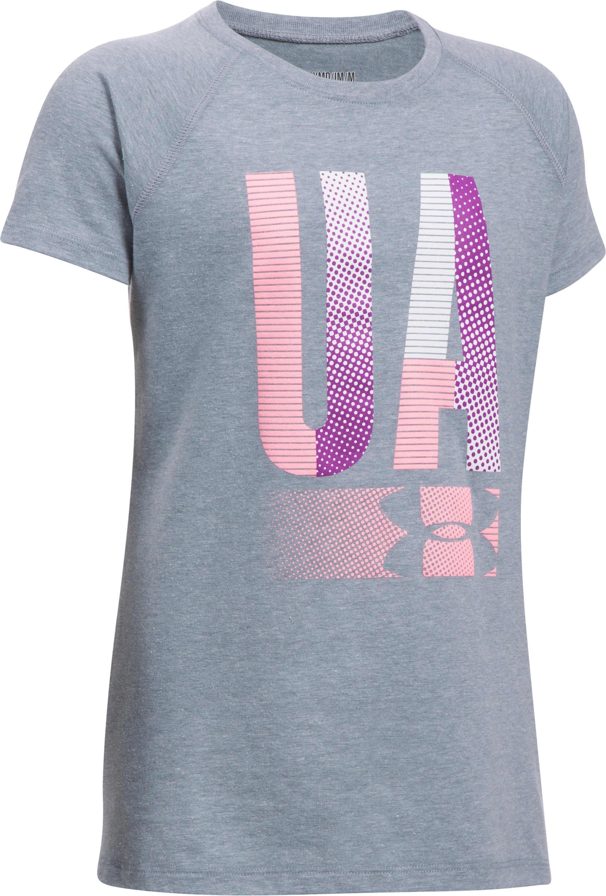 Girls' UA Multiplex Logo Short Sleeve T-Shirt, STEEL LIGHT HEATHER