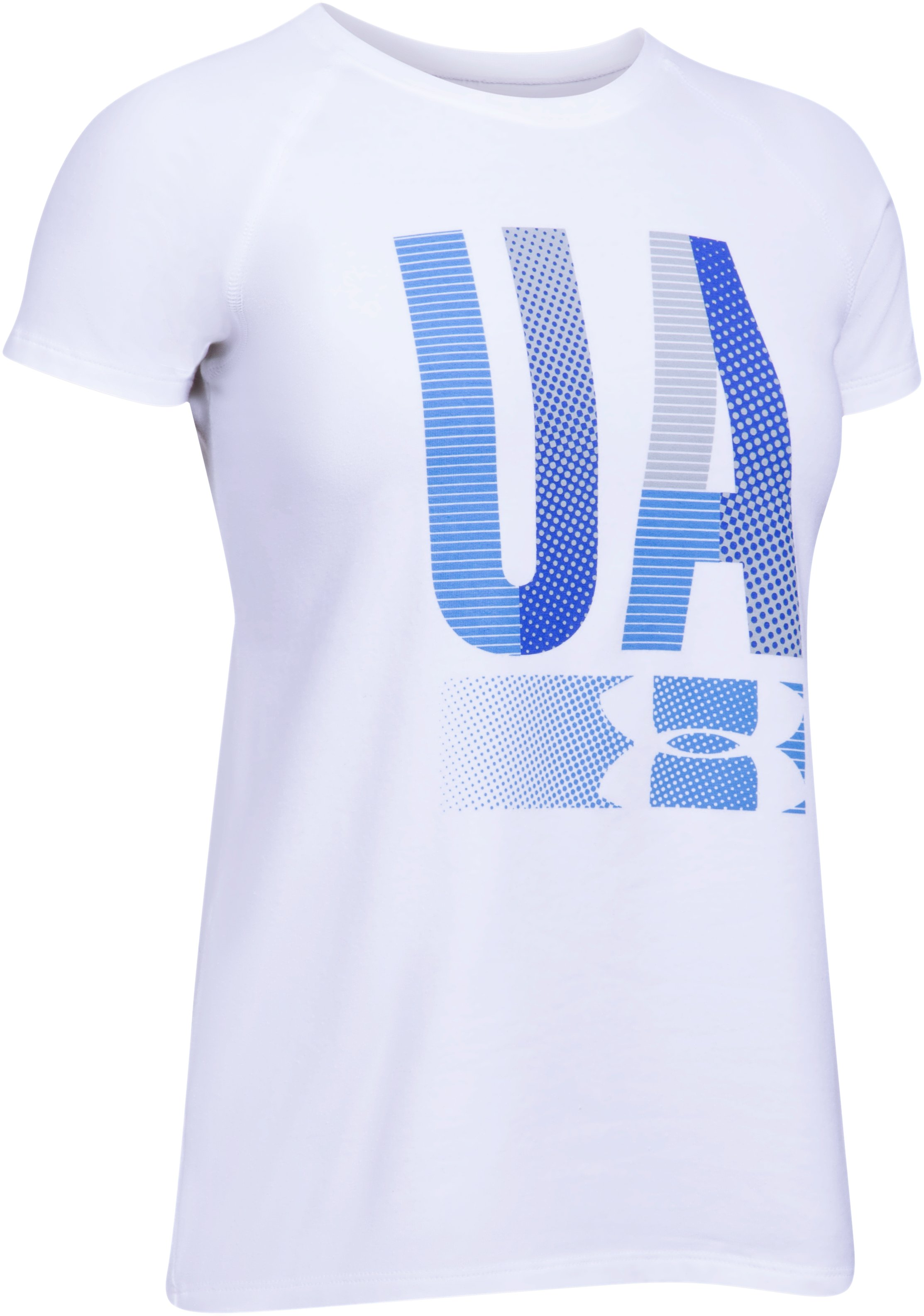 Girls' UA Multiplex Logo Short Sleeve T-Shirt, White,