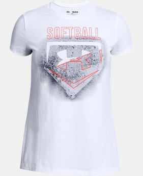 New Arrival Girls' UA Softball Logo T-Shirt  2 Colors $19.99