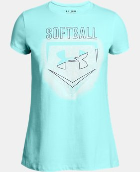 Girls' UA Softball Logo T-Shirt  1  Color Available $19.99