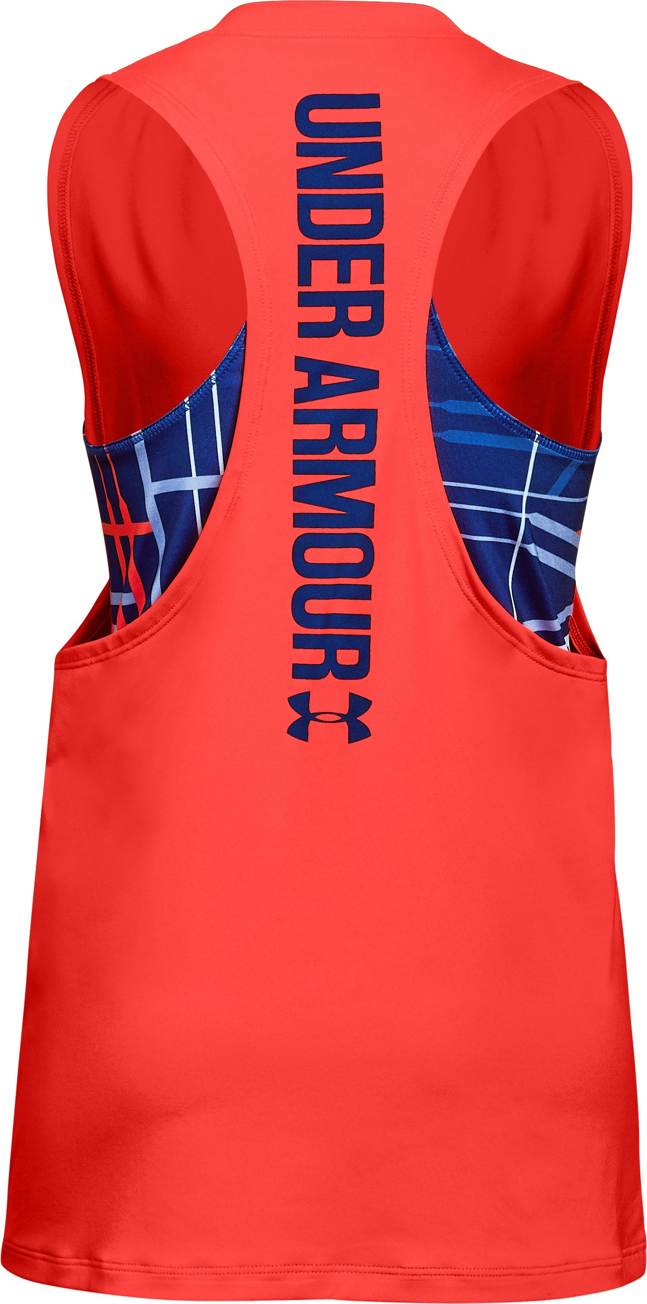 Girls' UA 2-in-1 Tank, NEON CORAL, undefined