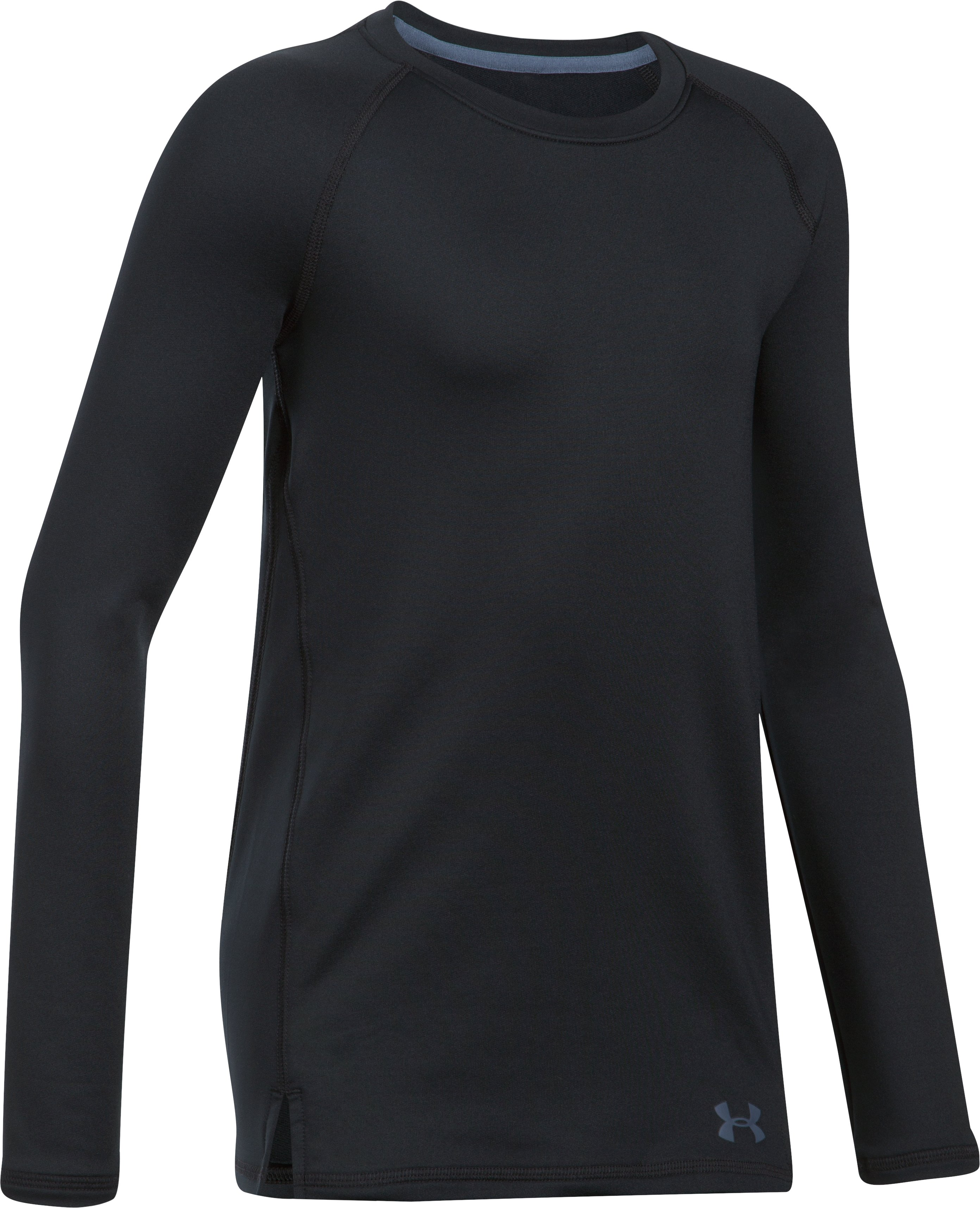 Girls' ColdGear® Crew Neck, Black , undefined