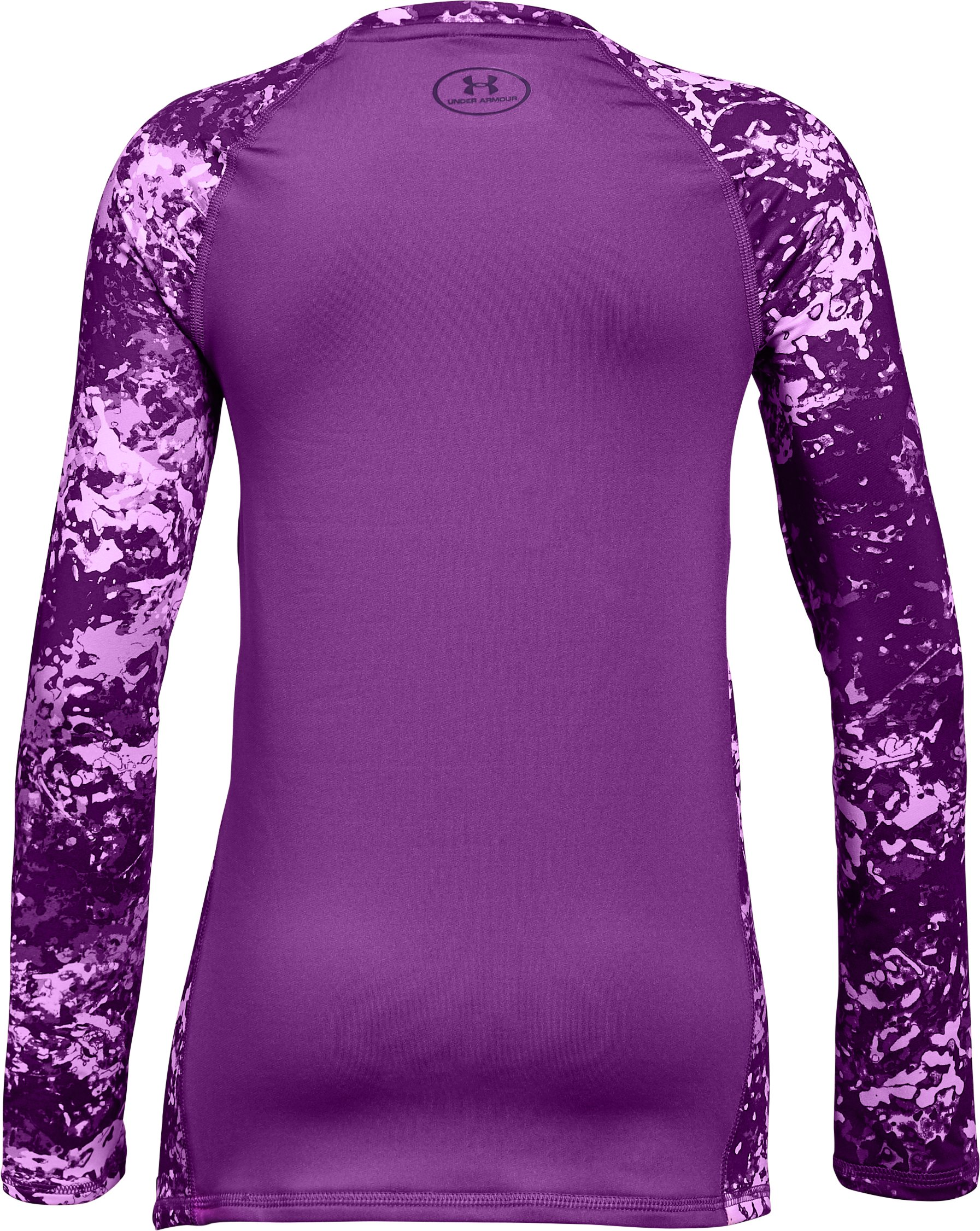Girls' ColdGear® Crew Neck, PURPLE RAVE, undefined