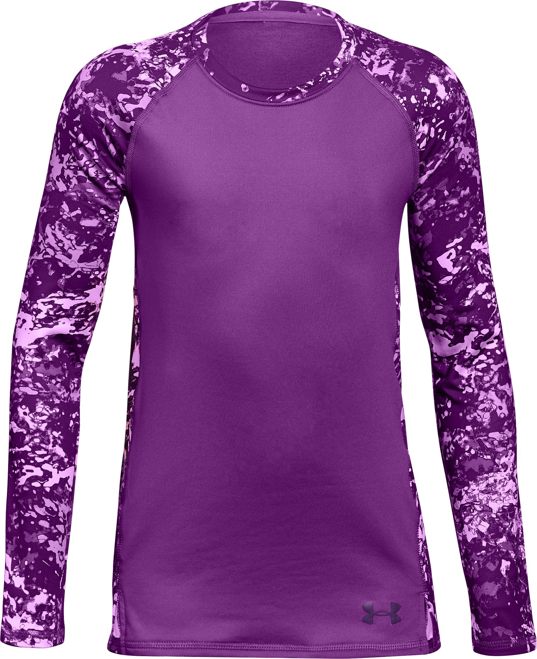 Girls' ColdGear® Crew Neck, PURPLE RAVE