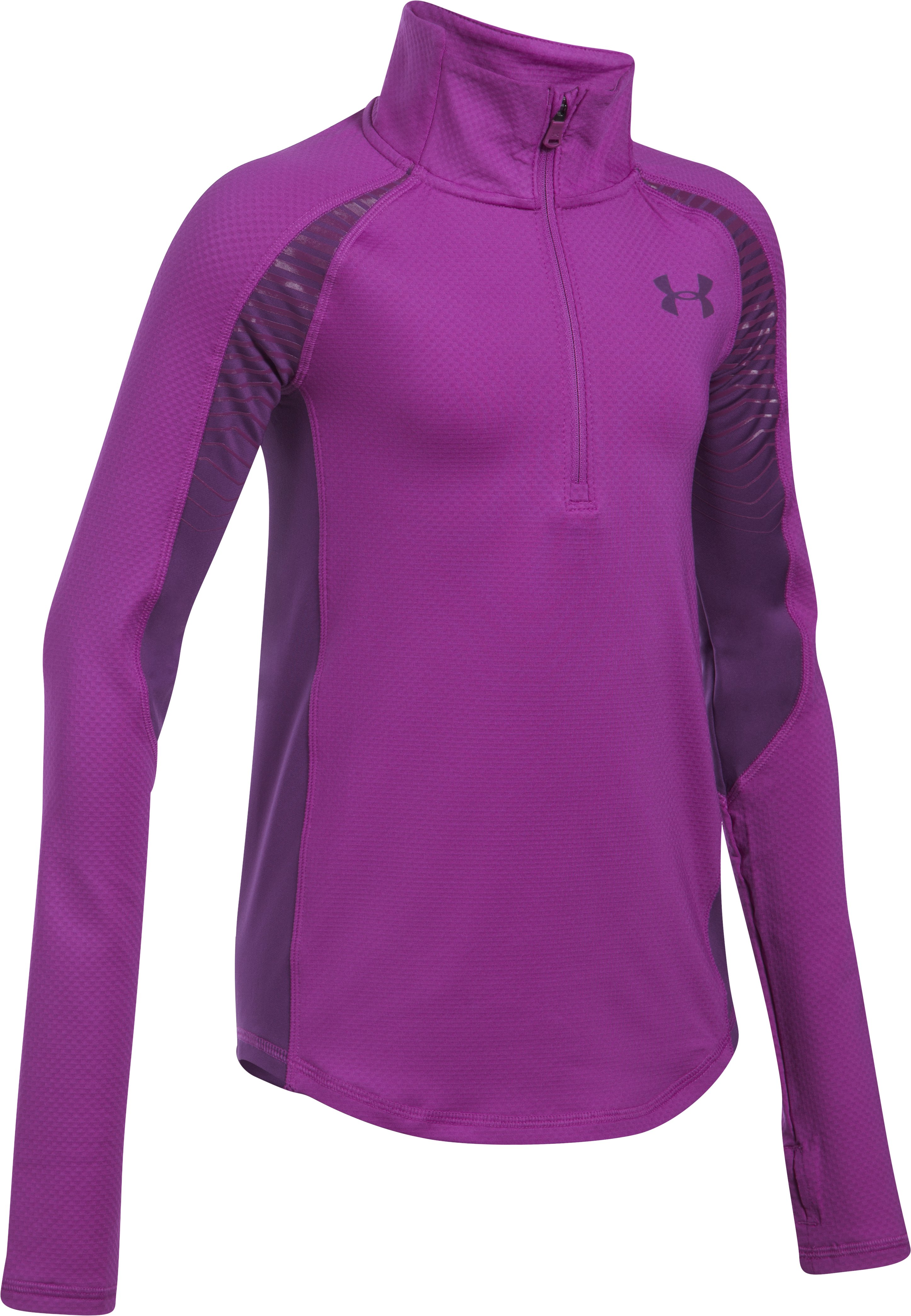 Girls' ColdGear® Reactor ½ Zip, PURPLE RAVE