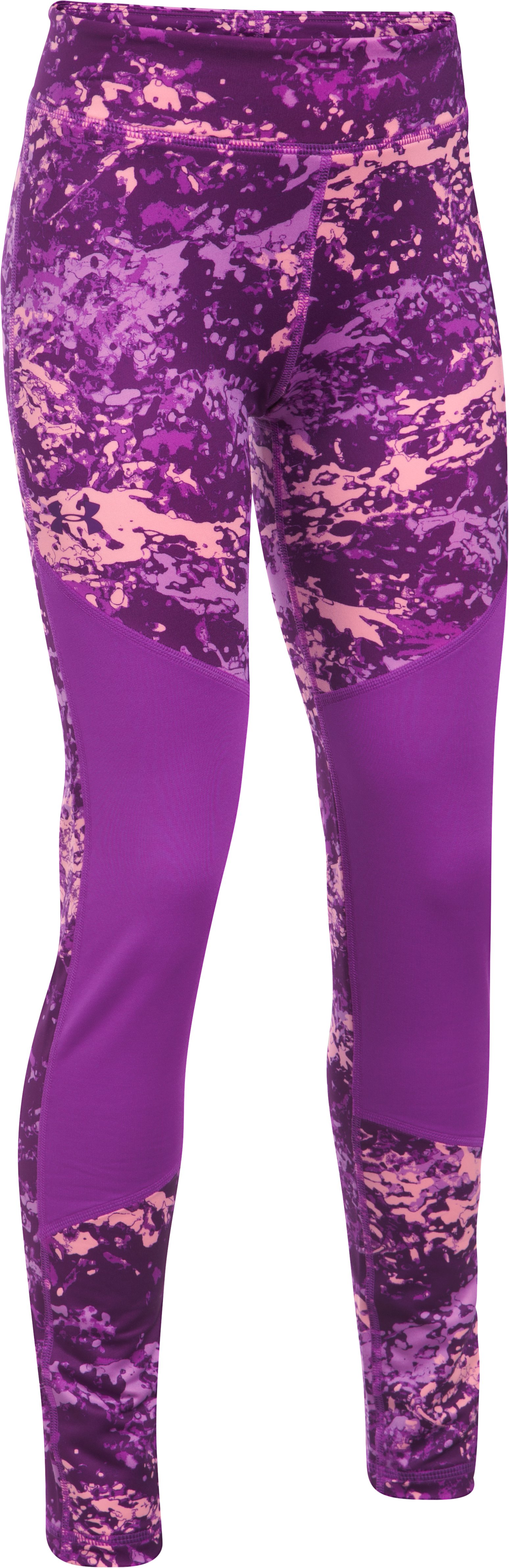 Girls' ColdGear® Printed Leggings, PURPLE RAVE,