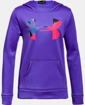 New to Outlet Girls' UA Armour® Fleece Big Logo Hoodie LIMITED TIME OFFER 2 Colors $29.99