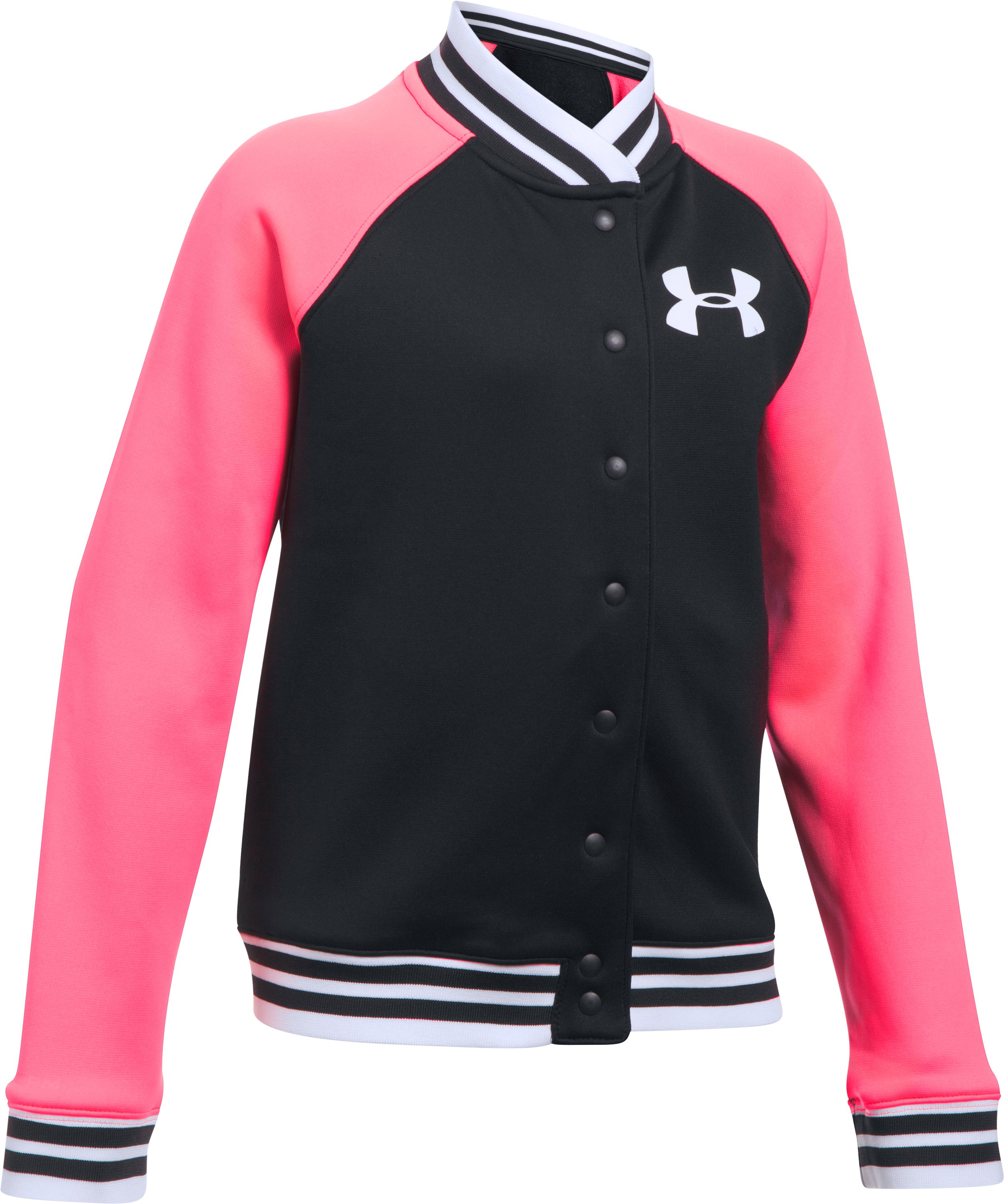 Girls' Armour Fleece® Graphic Bomber, Black ,