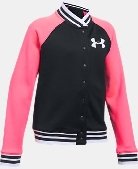 New Arrival  Girls' UA Armour® Fleece Graphic Bomber  2 Colors $69.99