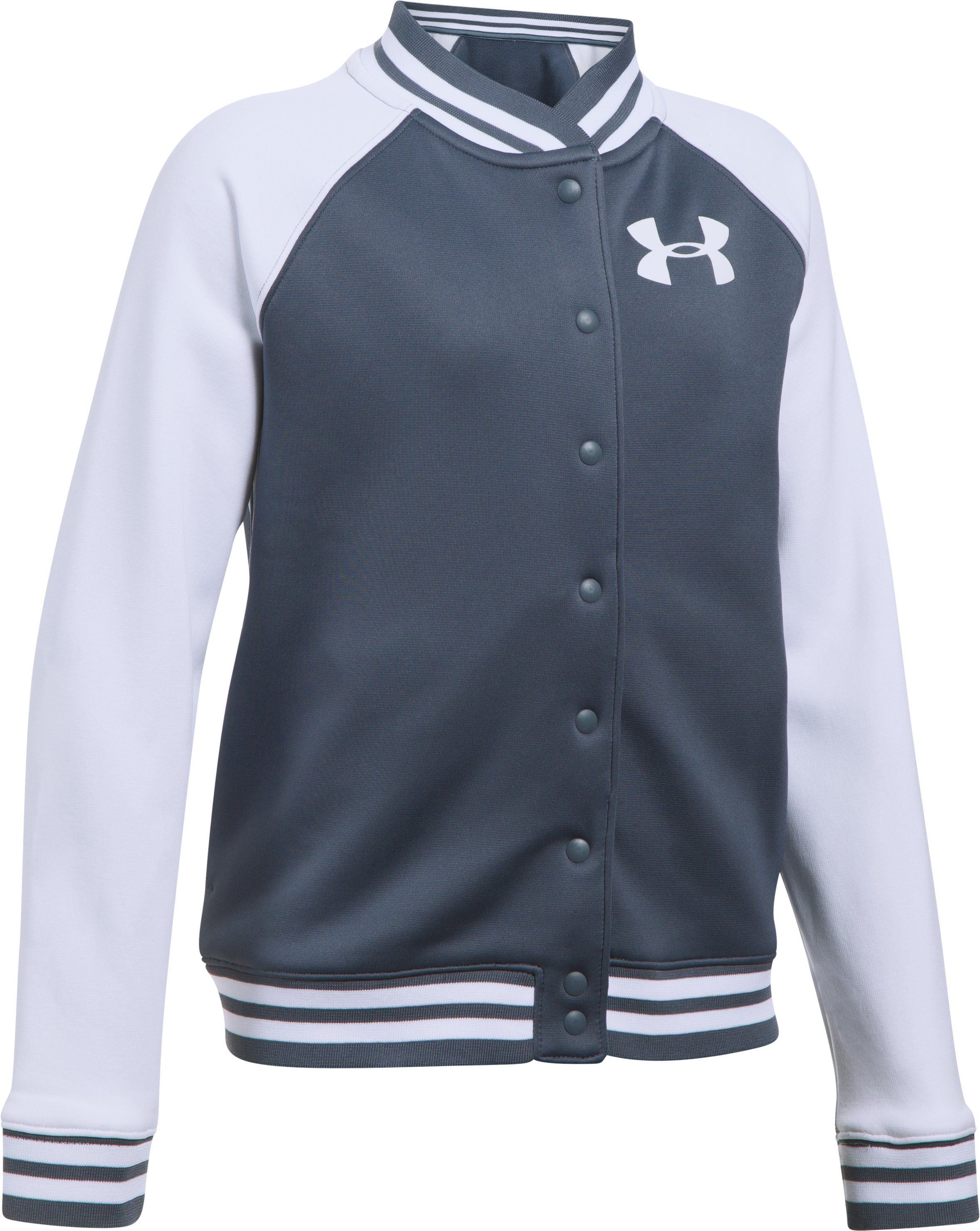 Girls' Armour Fleece® Graphic Bomber, APOLLO GRAY
