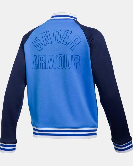 Girls' Armour Fleece® Graphic Bomber, Blue, pdpMainDesktop image number 1