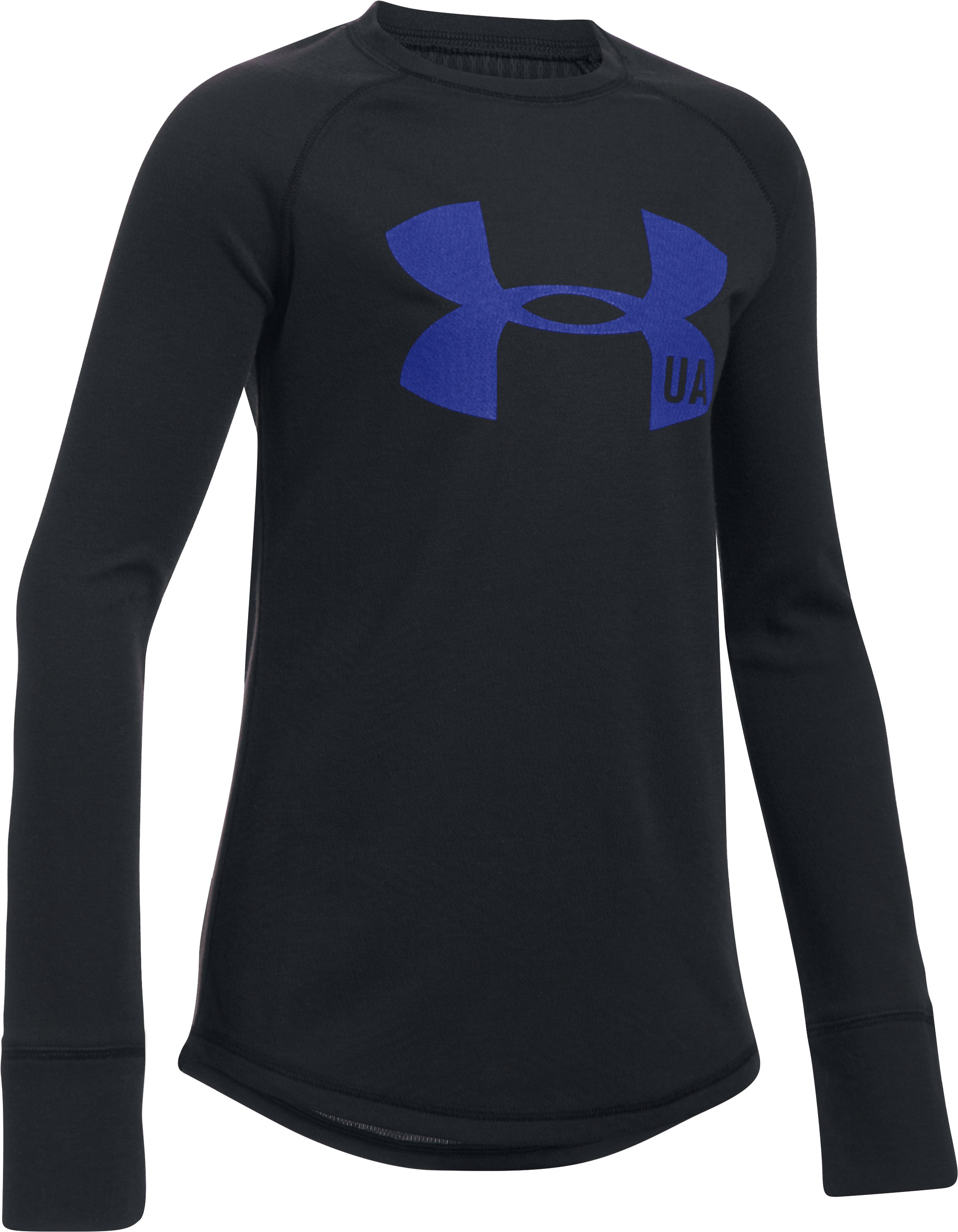 Girls' UA ColdGear® Infrared Knit Long Sleeve, Black , zoomed image
