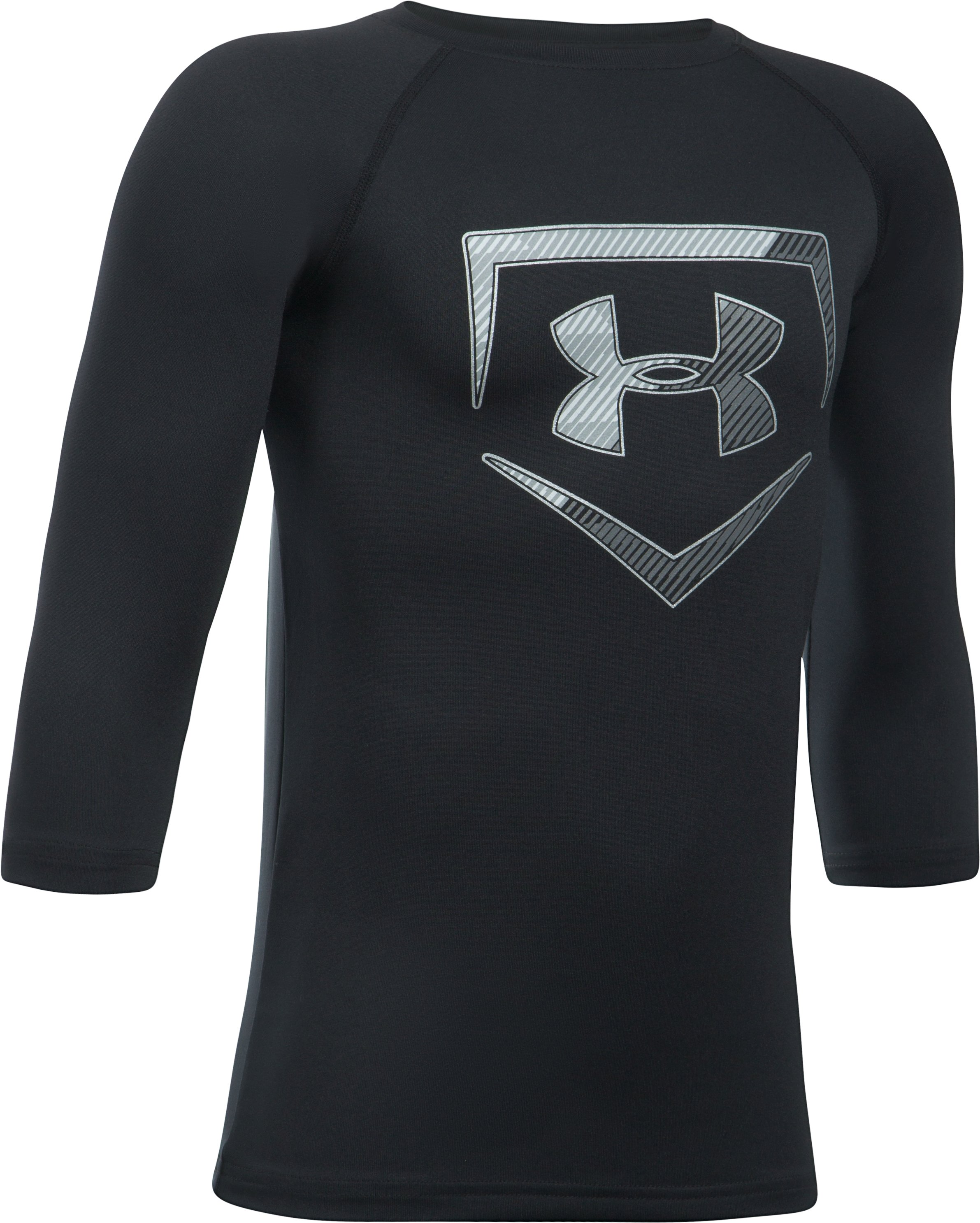Boys' UA Plate ¾ Sleeve T-Shirt, Black , undefined