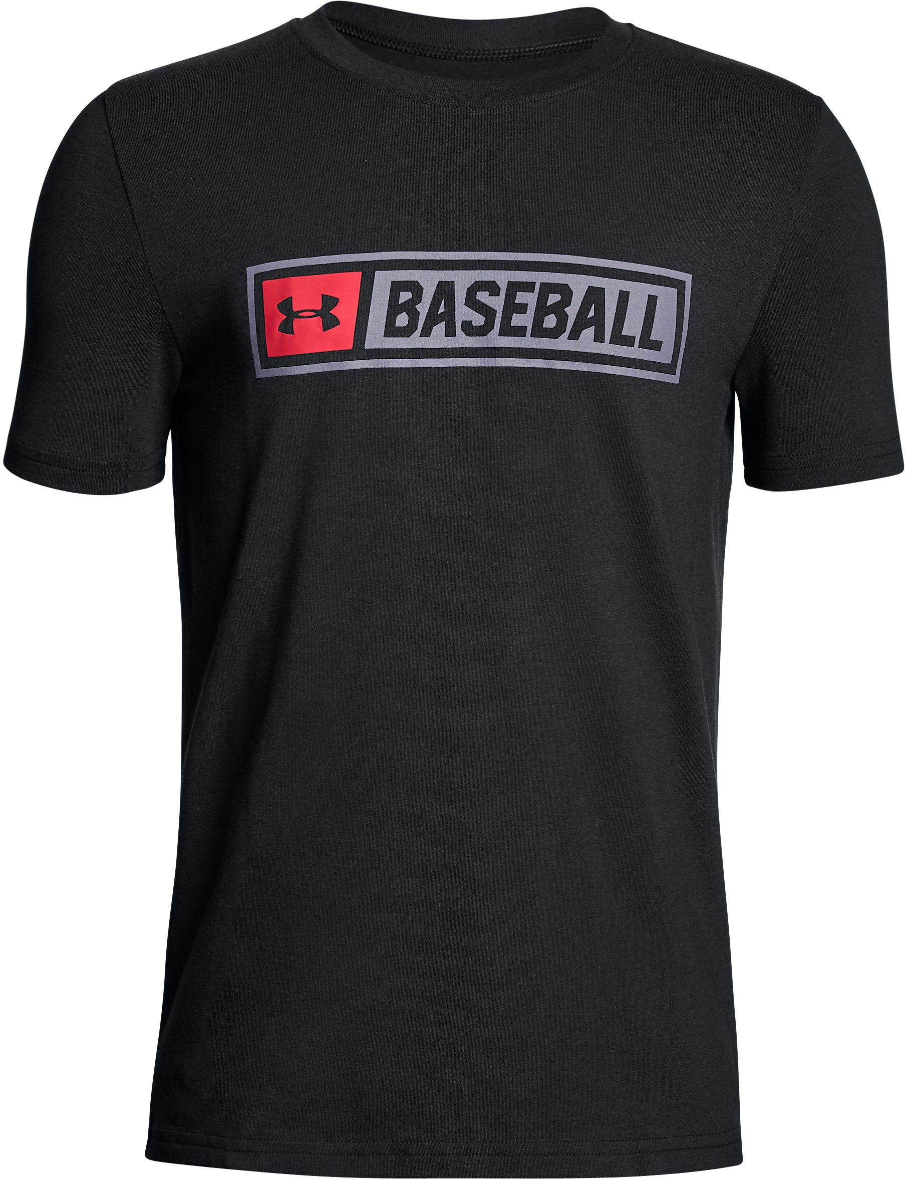 Boys' UA Baseball Wordmark T-Shirt, Black , undefined