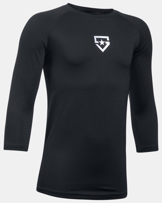 Boys' UA Heater ¾ Sleeve T-Shirt, Black, pdpMainDesktop image number 0