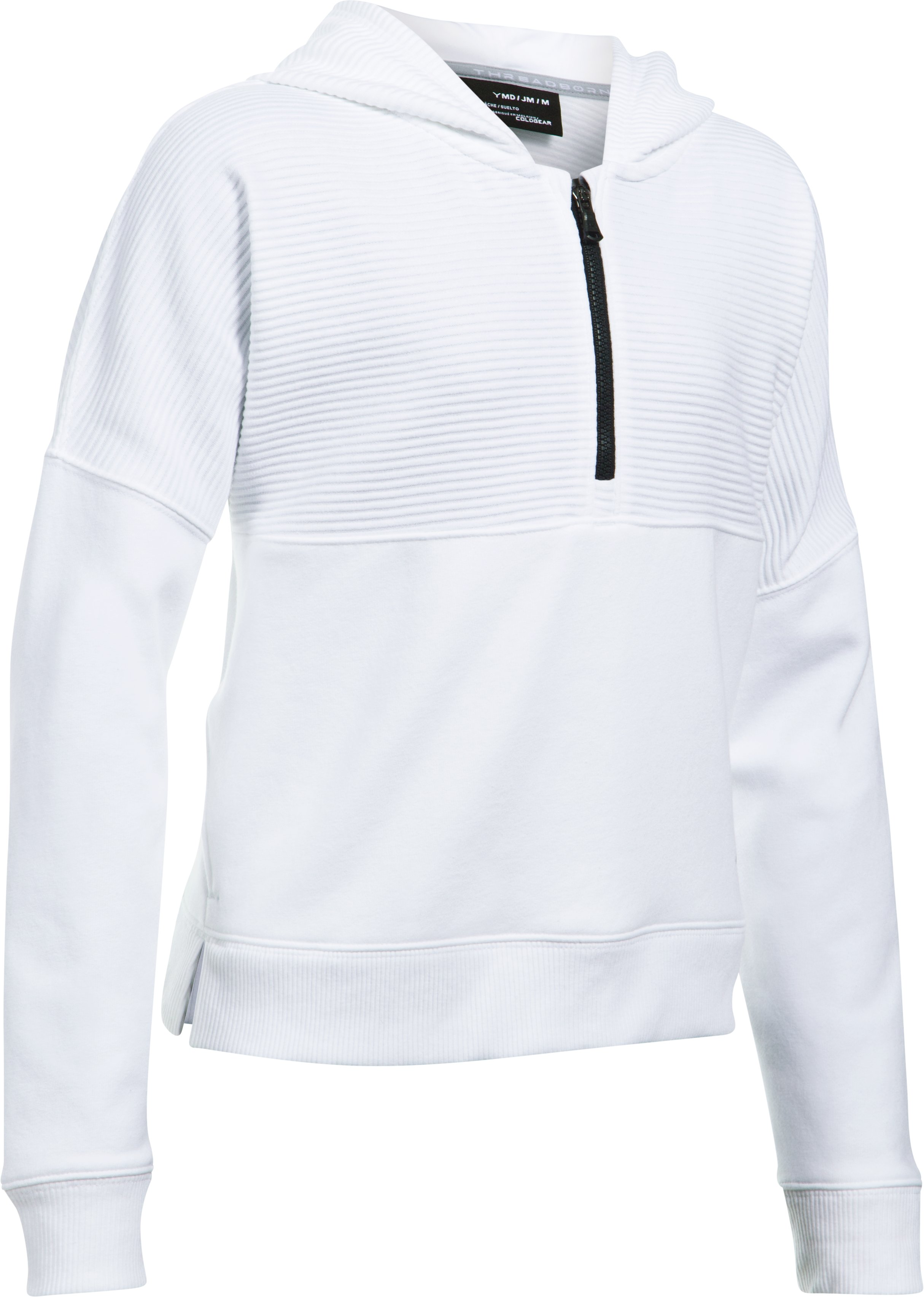 Girls' UA Stretch Fleece Ridge Hoodie, White,