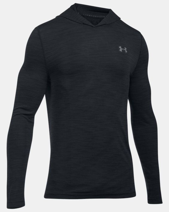 Men's UA Threadborne™ Seamless Hoodie, Black, pdpMainDesktop image number 3