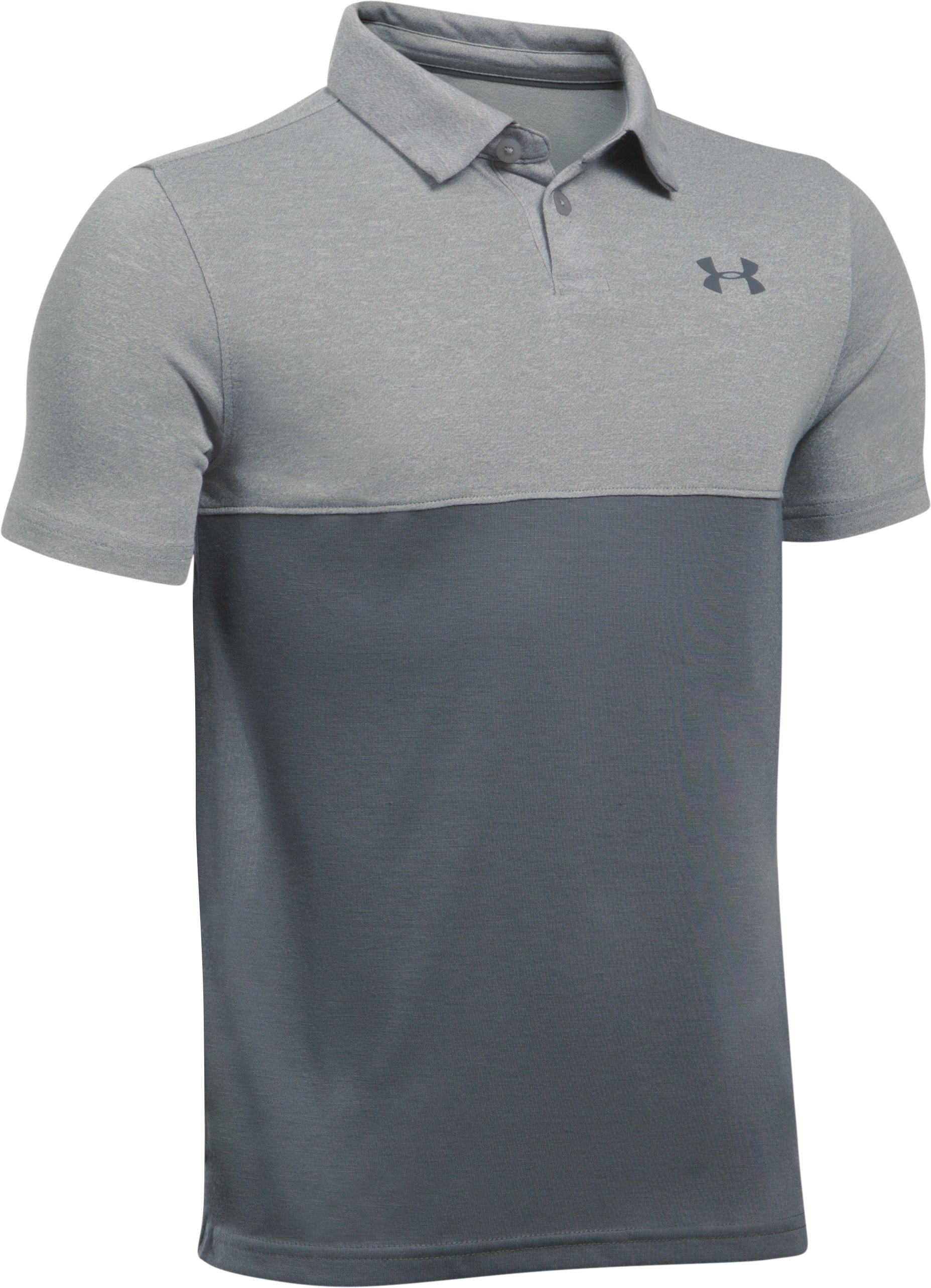 Boys' UA Threadborne Blocked Polo, True Gray Heather, undefined