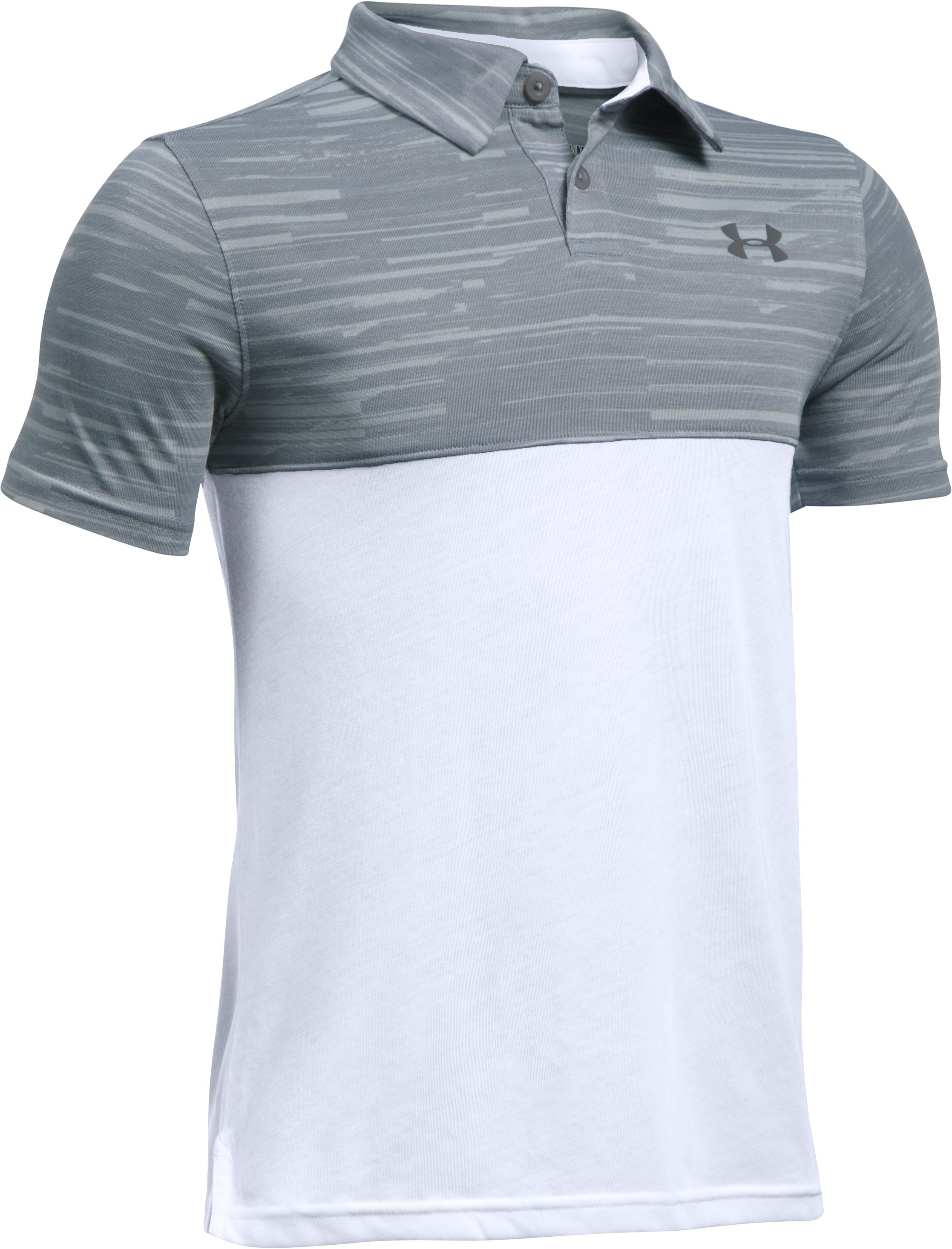 Boys' UA Threadborne Blocked Polo, Steel, undefined