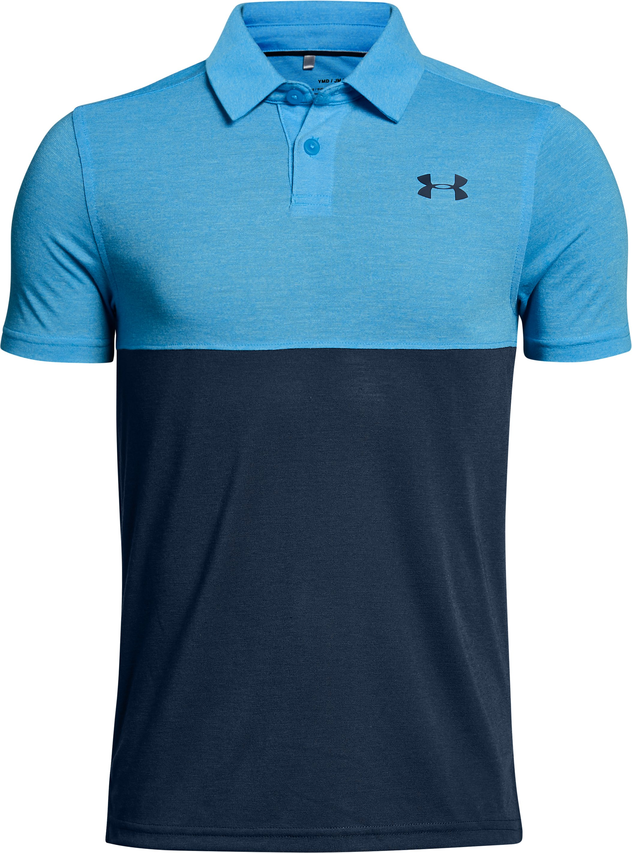 Boys' UA Threadborne Blocked Polo, CANOE BLUE,