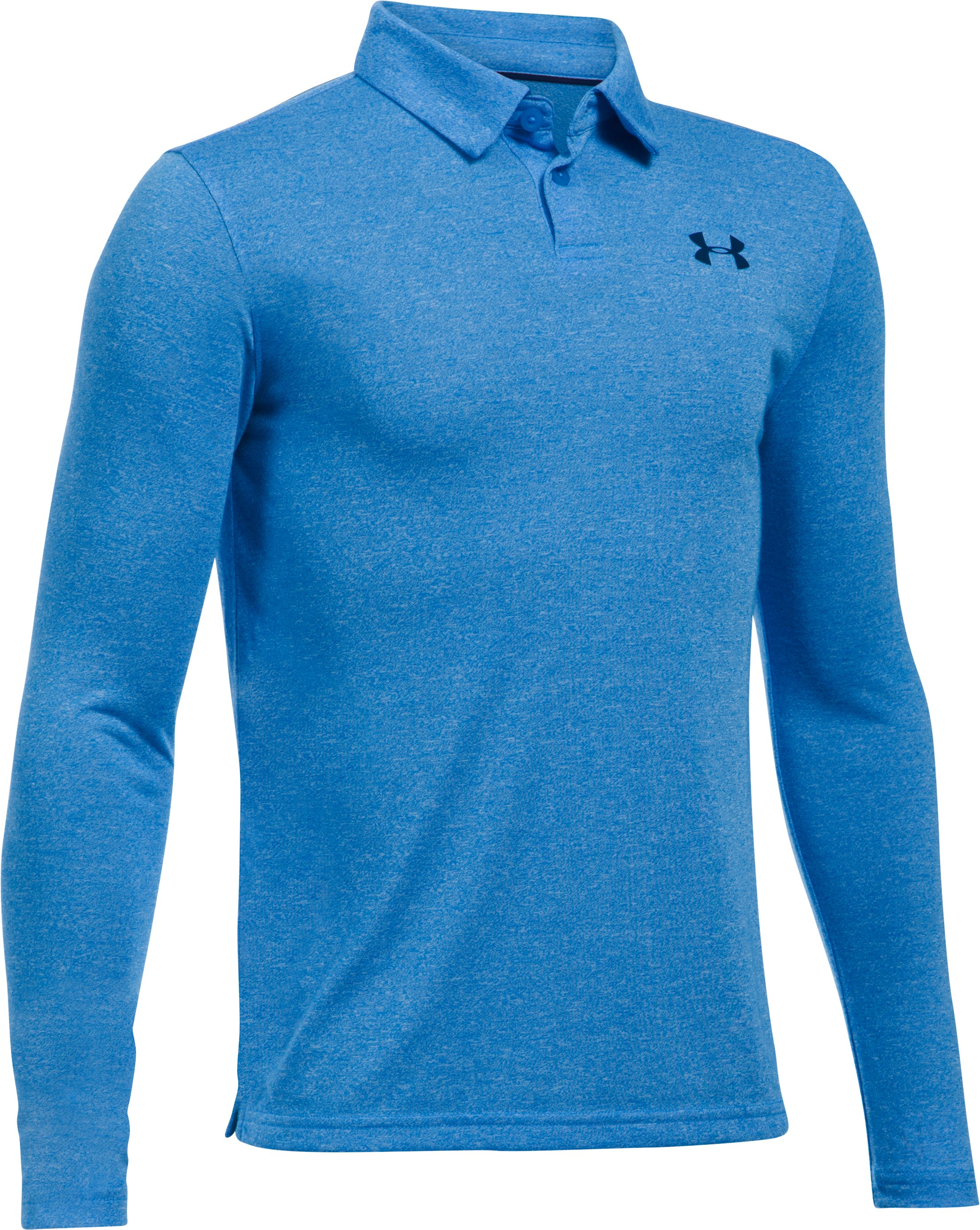 Boys' UA Threadborne™ Long Sleeve Polo, MAKO BLUE