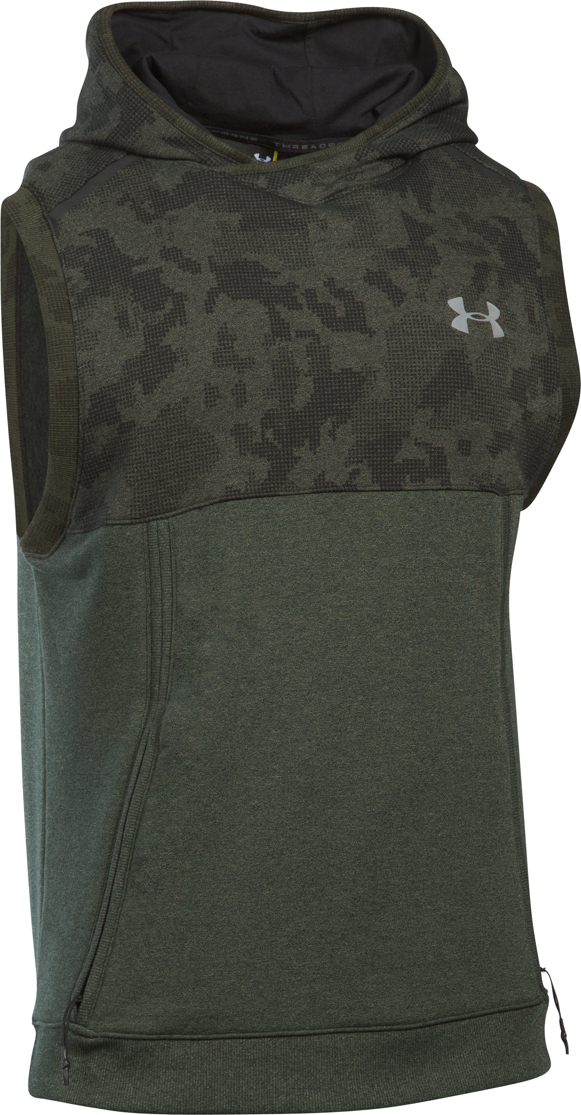 Men's UA Threadborne™ Fleece Sleeveless Hoodie, DOWNTOWN GREEN,