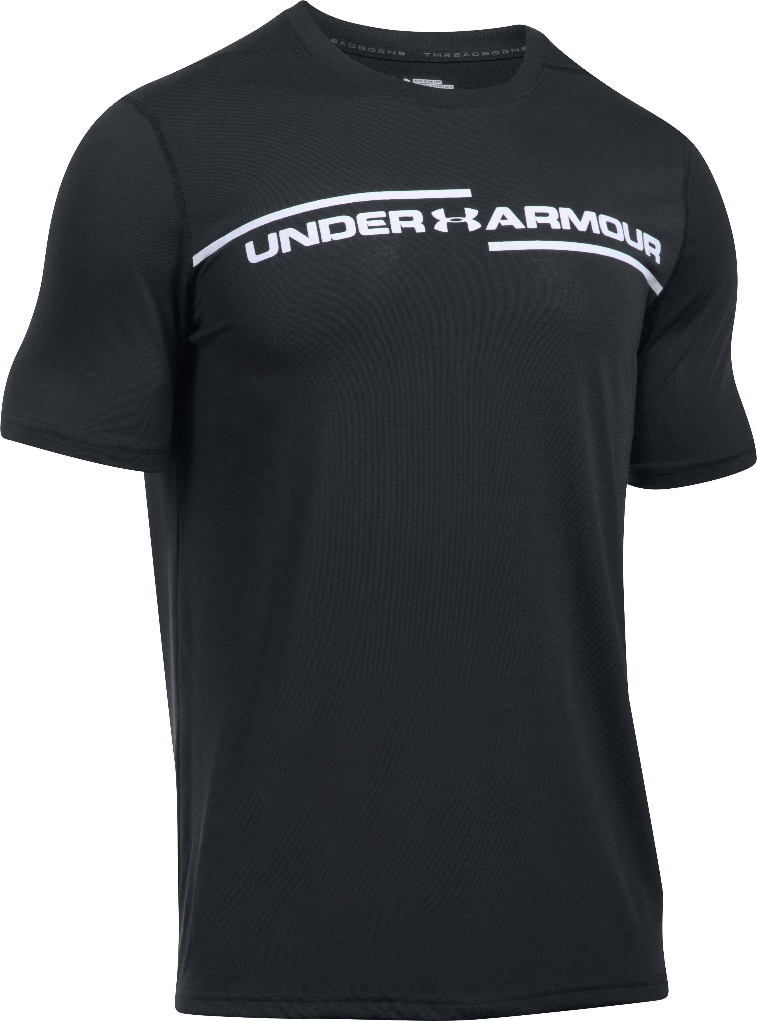 Men's UA Threadborne Cross Chest T-Shirt, Black , undefined