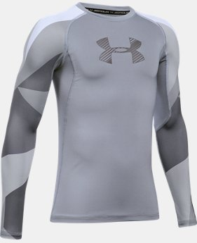 Boys' HeatGear® Armour Printed Long Sleeve  3 Colors $26.24
