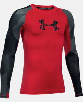 Boys' HeatGear® Armour Printed Long Sleeve  3 Colors $26.24 to $34.99