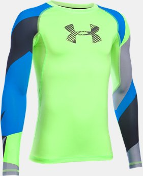 New Arrival Boys' HeatGear® Armour Printed Long Sleeve  1 Color $26.24 to $34.99