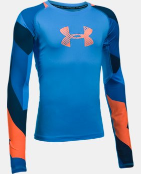 Boys' HeatGear® Armour Printed Long Sleeve  1 Color $26.24