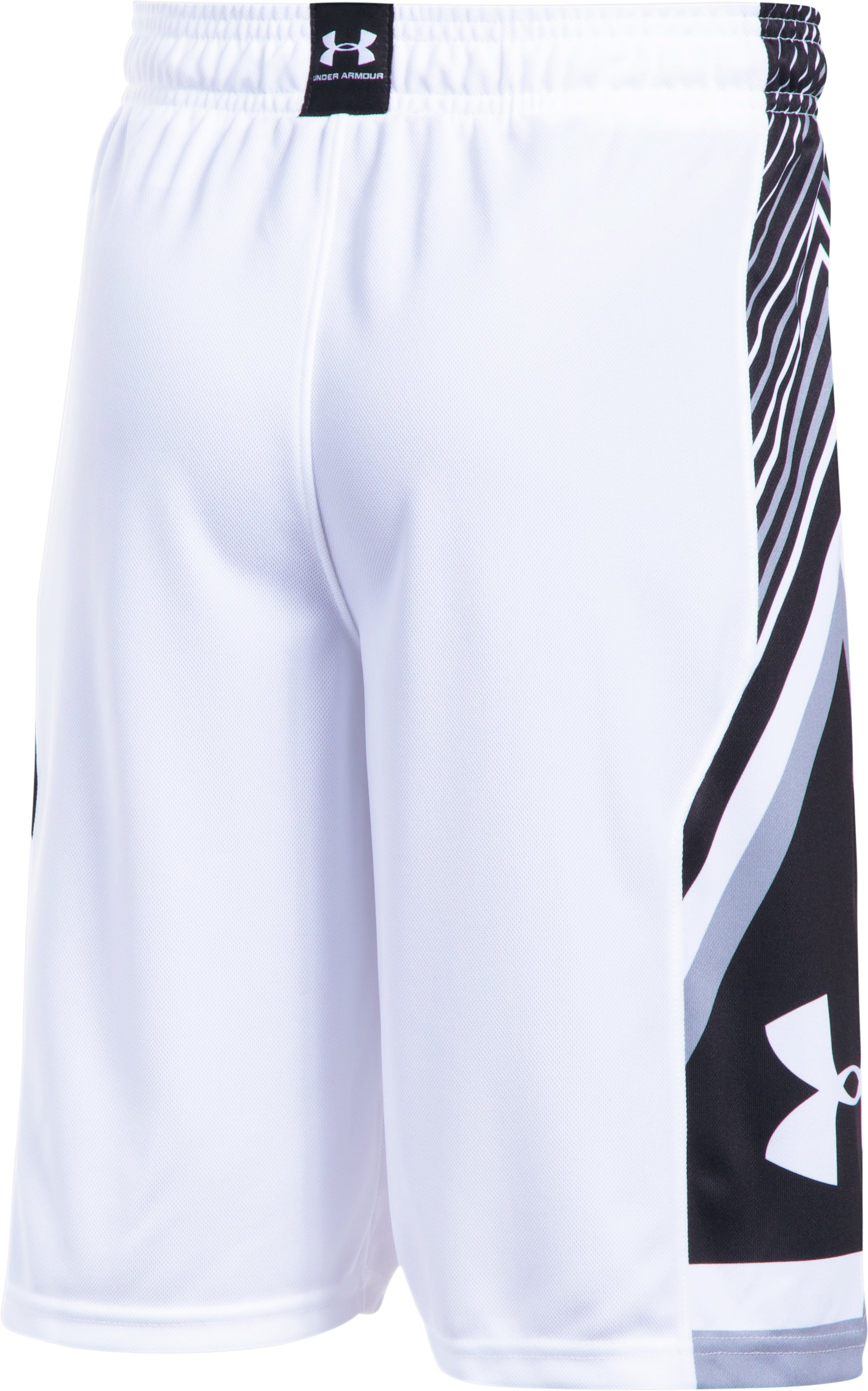 Boys' UA Space the Floor Shorts, White,