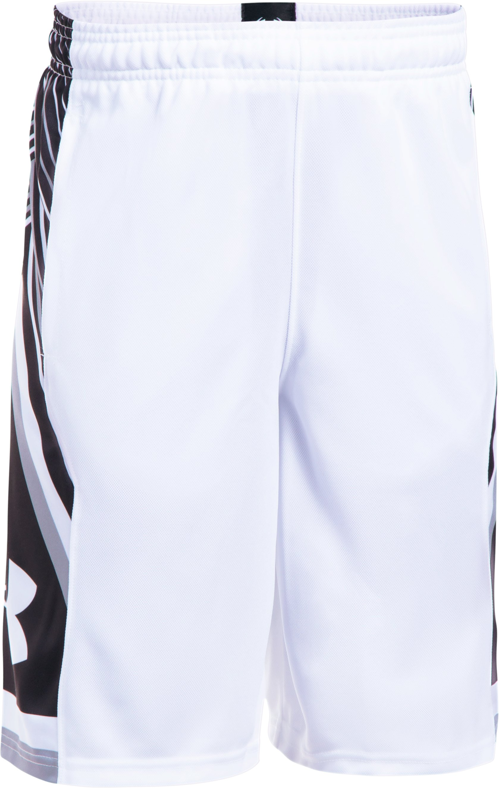 Boys' UA Space the Floor Shorts, White