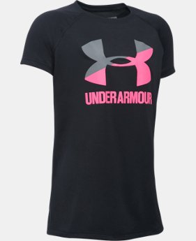 New Arrival  Girls' UA Solid Big Logo Short Sleeve T-Shirt  5 Colors $22.99