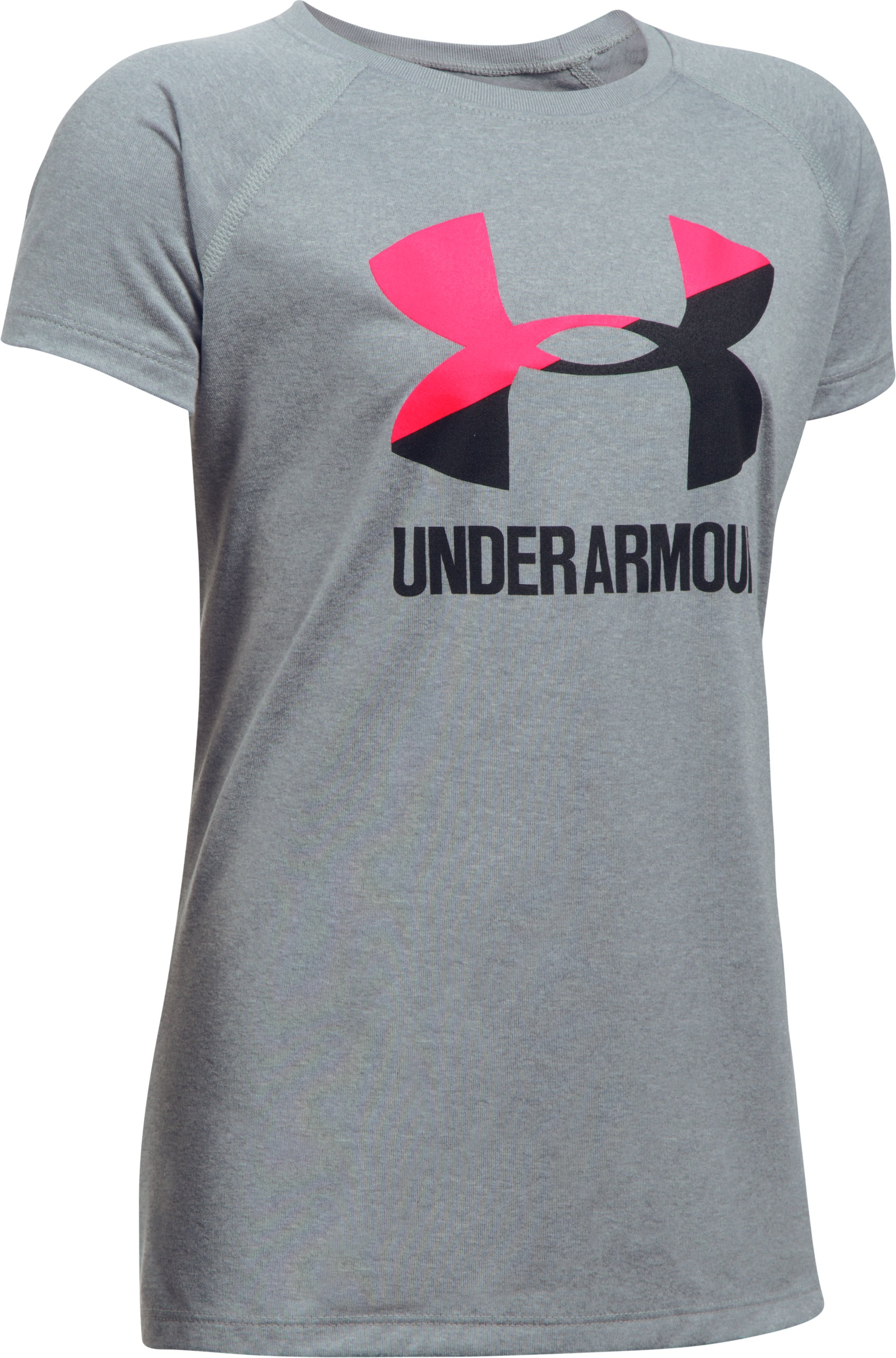 Girls' UA Big Logo T-Shirt, STEEL LIGHT HEATHER,