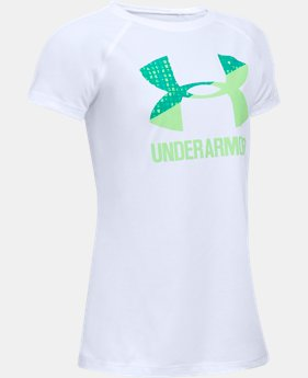 Best Seller Girls' UA Solid Big Logo Short Sleeve T-Shirt  1 Color $14.99