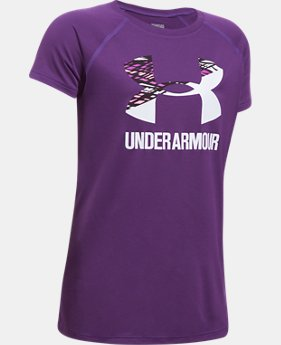 Best Seller Girls' UA Solid Big Logo Short Sleeve T-Shirt  2 Colors $14.99