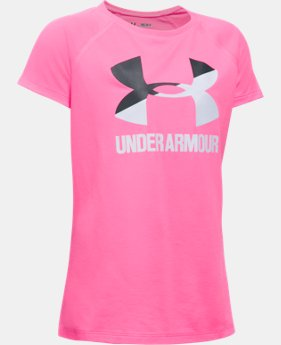 Best Seller Girls' UA Solid Big Logo Short Sleeve T-Shirt  16 Colors $14.99