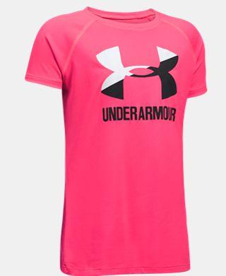 Girls' UA Solid Big Logo Short Sleeve T-Shirt