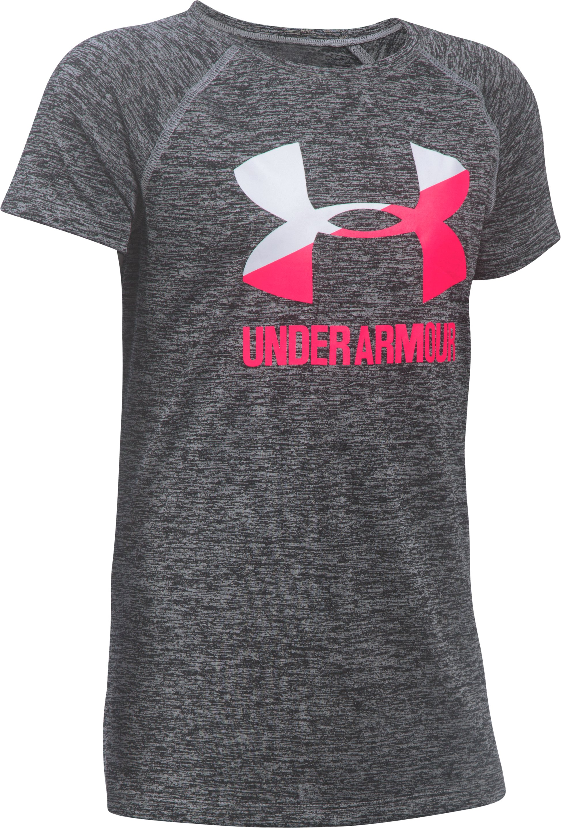 Girls' UA Big Logo Short Sleeve T-Shirt, Black ,