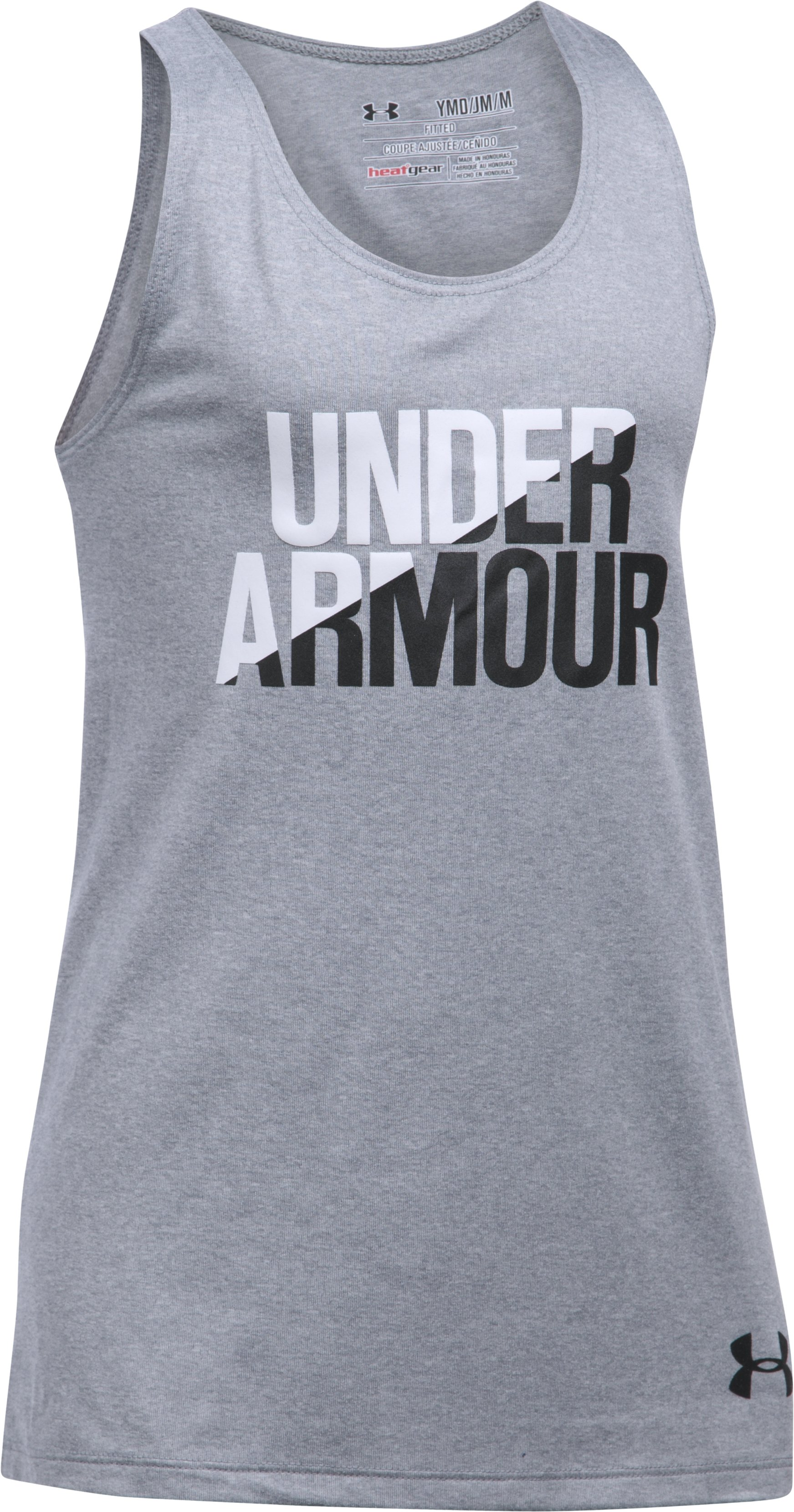 Girls' UA Under Armour Tank, True Gray Heather, zoomed image