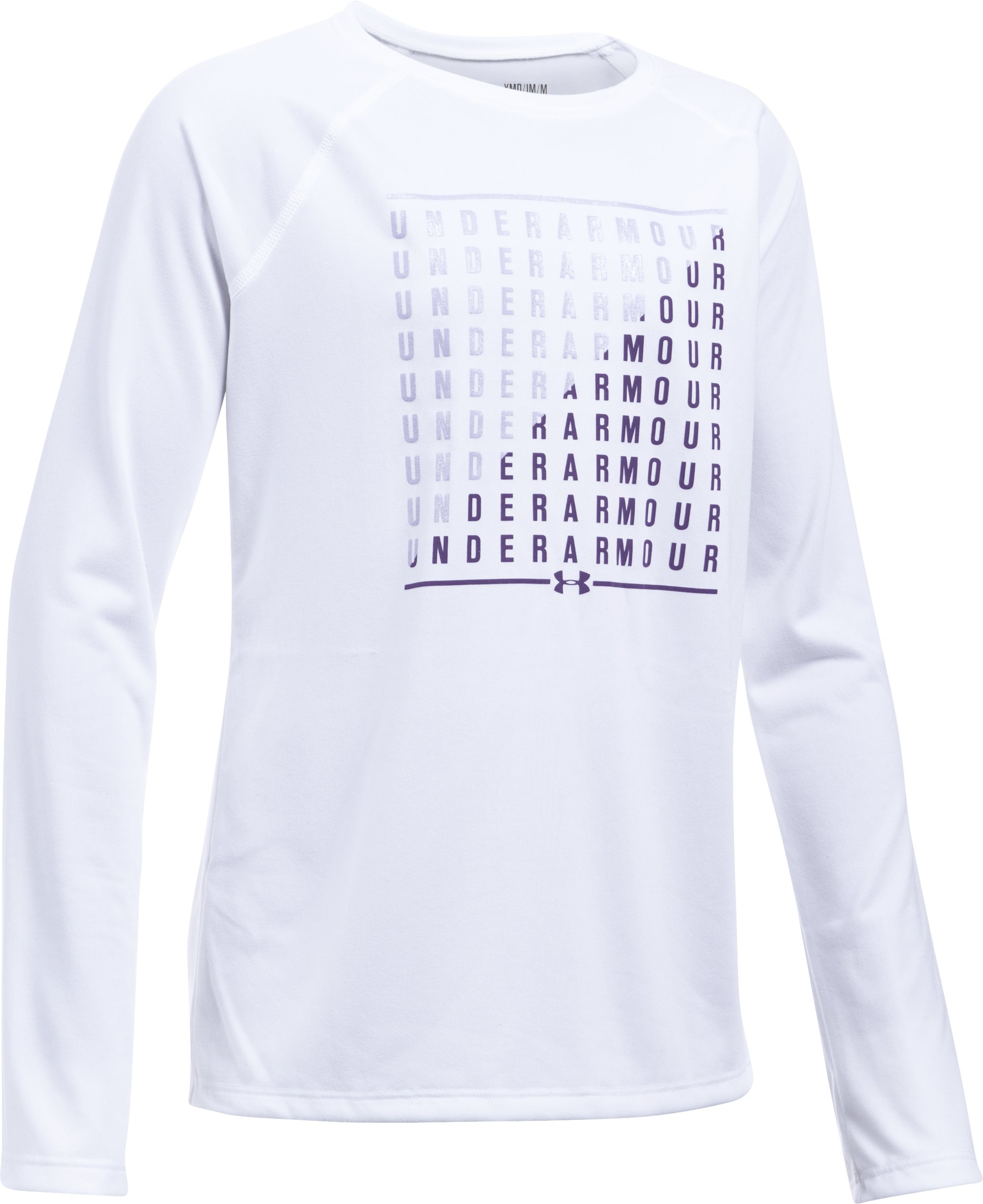 Girls' UA Slash Long Sleeve, White,